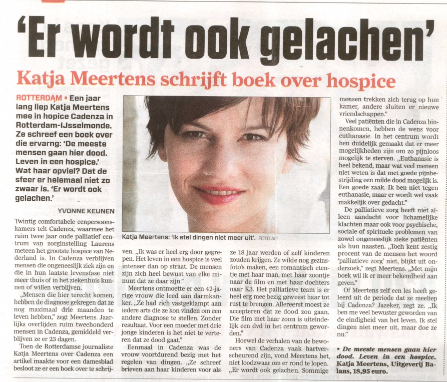 In de media katja meertens for Hospice rotterdam